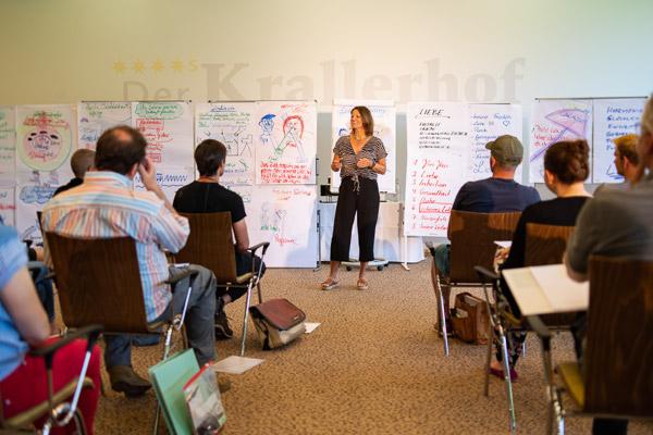 Felicitas Prenzel - Seminarleiterin der PALLAS-Seminare vor einer Seminargruppe