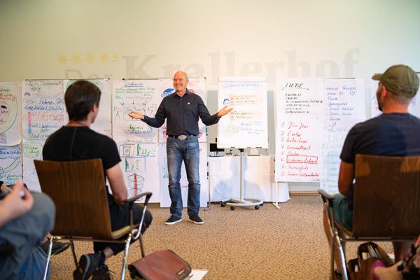 Frank Endreß - Seminarleiter der PALLAS-Seminare vor einer Seminargruppe
